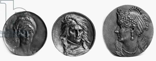 NAPOLEON I (1769-1821). Emperor of the French. Medallions of (from left) Laetitia Bonaparte, mother of Napoleon; Napoleon I; and Josephine Bonaparte. Bronze, early 19th century, by Pierre Jean David d'Angers.