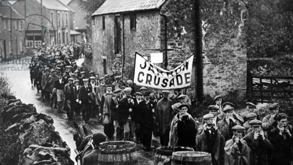 ENGLAND: COAL MINERS, 1936 Unemployed coal miners demonstrating at Jarrow, England, in 1936.