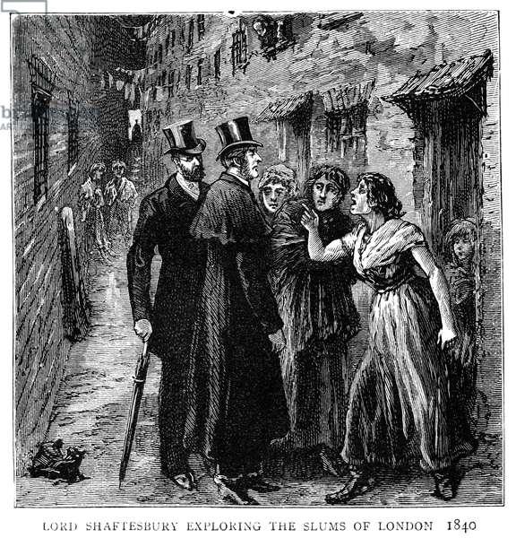 EARL OF SHAFTESBURY (1801-1885). Anthony Ashley-Cooper, 7th Earl of Shaftesbury. English politician, reformer, and philanthropist. Lord Shaftesbury exploring the slums of London in 1840. Wood engraving from an illustrated biography published in 'The Graphic' after his death, 1885.