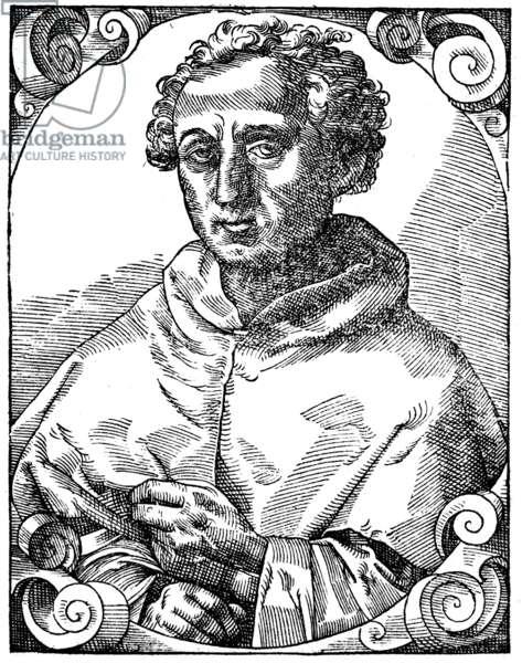 CHRISTOPHER COLUMBUS (1451-1506). Italian navigator. Woodcut from Paolo Giovio's 'Elogia virorum bellica virtute illustrium,' Basel, 1596.
