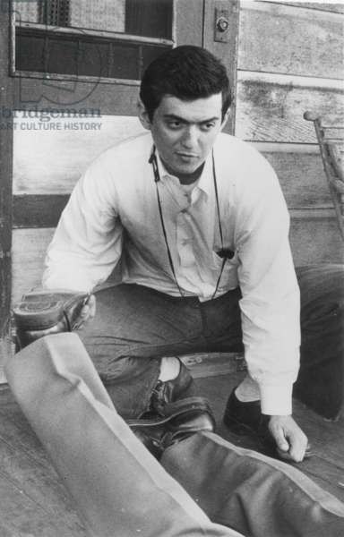 """STANLEY KUBRICK (1928-1999) American film director. Photographed on the set of """"Fear and Desire."""""""