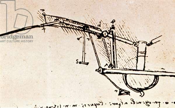 LEONARDO: FLYING MACHINE Leonardo da Vinci's study for a pedal-operated wing of flying machine.