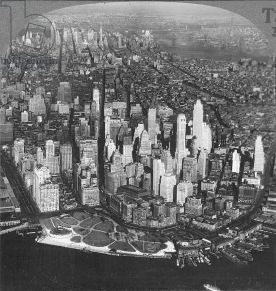 NEW YORK SKYLINE, c.1925 An aerial view of lower Manhattan showing the Woolworth Building and the Aquarium, c.1925: from a stereograph view.
