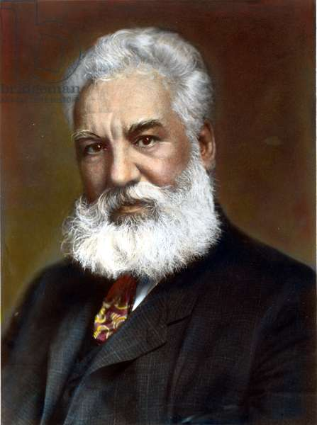 ALEXANDER GRAHAM BELL (1847-1922). American (Scottish-born) teacher and inventor. Oil over a photograph, 1904.