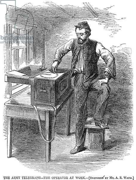 CIVIL WAR: TELEGRAPH, 1863 A telegrapher of the Army of the Potomac at work: wood engraving from an 1863 Northern newspaper.