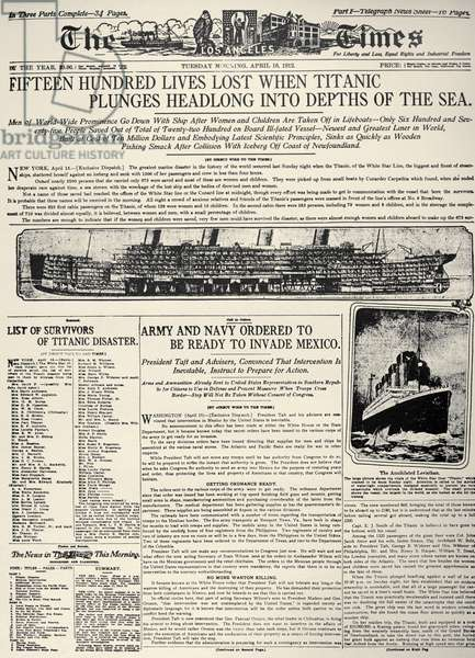 TITANIC HEADLINE, 1912 Front page of the Los Angeles Times, 16 April 1912, reporting on the sinking the previous day of the White Star liner 'Titanic,' following its collision with an iceberg in the North Atlantic.