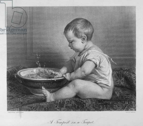 BABY, 19th CENTURY 'A Tempest in a Teapot.' Steel engraving, French, 19th century, after a painting by Timoleon Lobrichon (1831-1914).