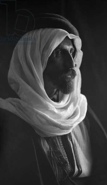 BEDOUIN MAN, c.1910 Portrait of a Bedouin man. Photograph, c.1910.