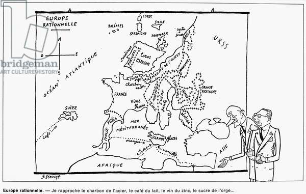 ROBERT SCHUMAN (1886-1963) French politician. French cartoon, 1951, satirizing the Schuman Plan developed in 1950 to promote European economic and military unity. Schuman (at left) is shown explaining his map of a 'Rational Europe.'