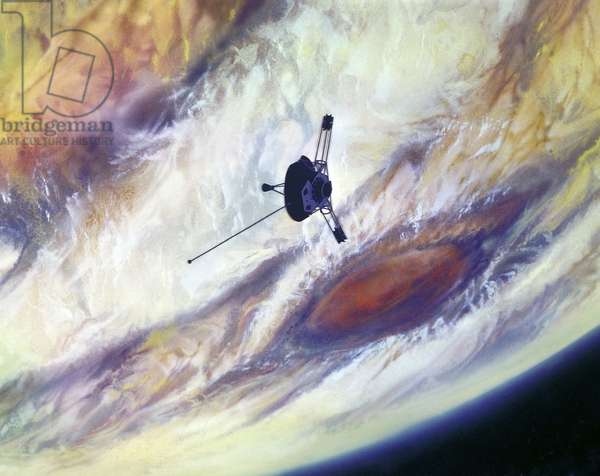 PIONEER 10: JUPITER, 1972 Artist's concept of the Pioneer 10 spacecraft above Jupiter's surface. Illustration, 1972.