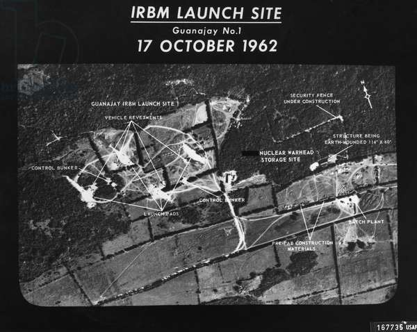 CUBAN MISSILE CRISIS, 1962 U.S. Air Force photograph of the launch site of intermediate-range ballistic missiles (IRBMs) at Guanajay, Cuba, 17 October 1962.
