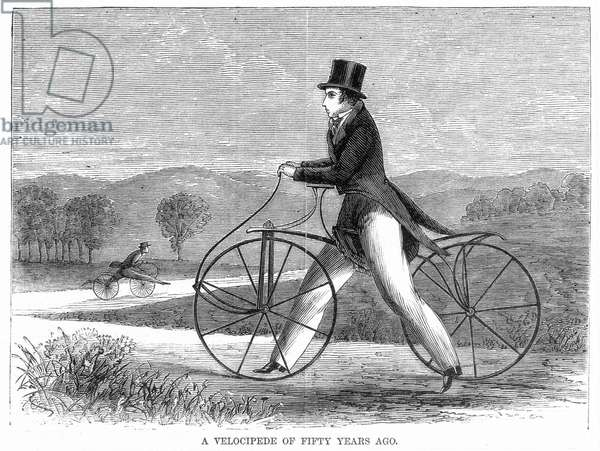 BICYCLING, 1819 The Draisine, or 'Pedestrian Curricle,' invented by Karl von Drais de Sauerbrun in 1816 and introduced into the United States in 1819. Wood engraving, 1869.