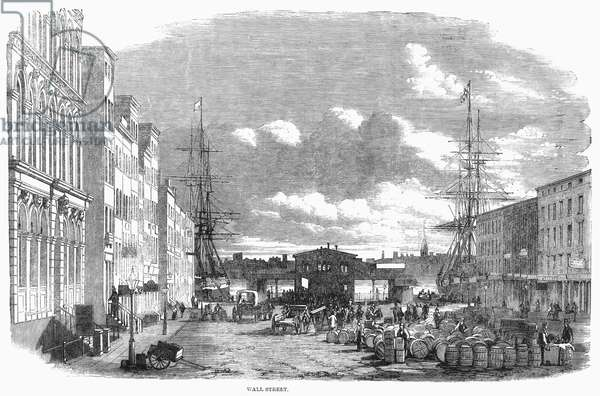 WALL STREET, 1859. The eastern end of Wall Street, New York. Wood engraving from an English newspaper of 1859.