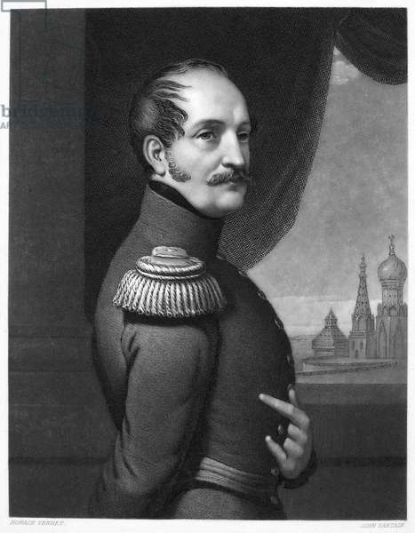 NICHOLAS I (1796-1855) Czar of Russia, 1825-1855. Mezzotint, 1852, by John Sartain after Horace Vernet.
