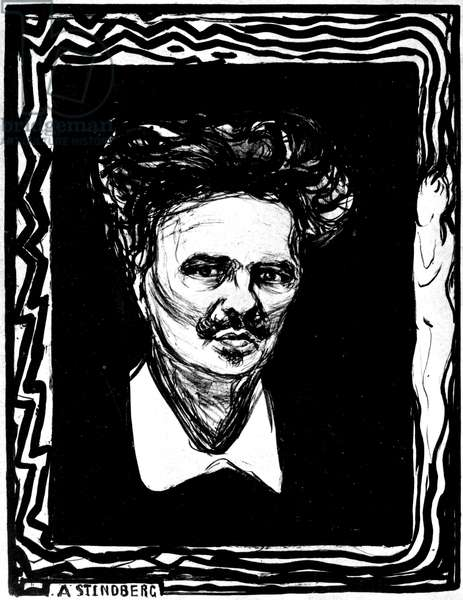 Portrait of August Strindberg (1849-1912) Swedish playwright and novelist, 1896 (lithograph)