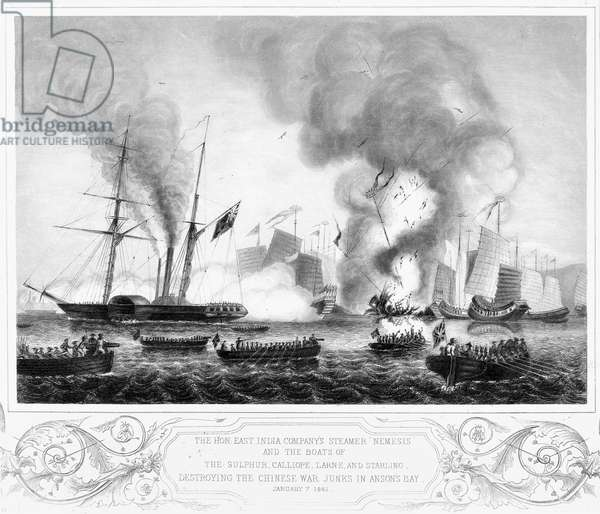 FIRST OPIUM WAR, 1841 The East India Company's steamer 'Nemesis' and other boats destroying the Chinese war junks in Anson's Bay during the First Opium War, 7 January 1841. Line engraving by George Great Back after G.W. Terry, English, mid-19th century.