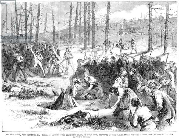 COAL MINER STRIKE, 1871 The coal riots near Scranton, Pennsylvania. Laborers meeting near the Dogde Shaft, at Hyde Park, dispersed by the Welsh miners and their wives, May 9th.' Wood engraving from an American newspaper of 1871.