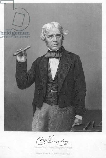 MICHAEL FARADAY (1791-1867) English chemist and physicist: steel engraving, 19th century, after a photograph.