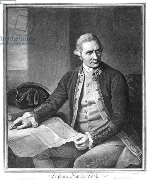 JAMES COOK (1728-1779) English mariner and explorer. Line engraving, 1779, after Nathaniel Dance.