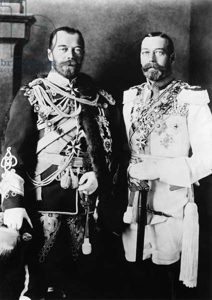 NICHOLAS II & GEORGE V Czar Nicholas II of Russia (left), with King George V of England. Photograph, c.1910.