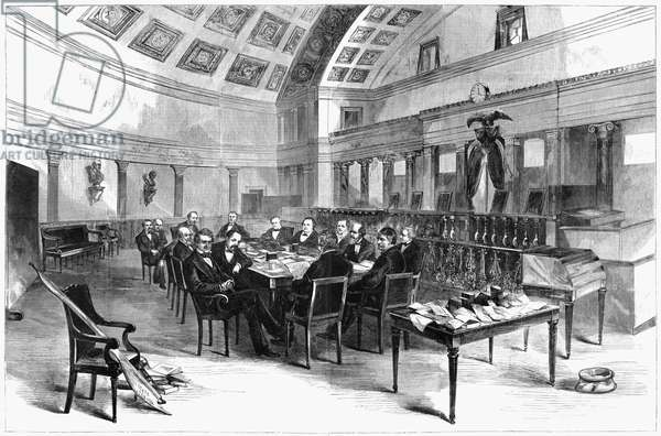 ELECTORAL COMMISSION, 1877 Session of the Electoral Commission created to resolve twenty disputed electoral votes, including four from Florida, in the 1876 presidential election between Republican Rutherford B. Hayes and Democrat Samuel Tilden. Wood engraving after Theodore Davis, 1877.