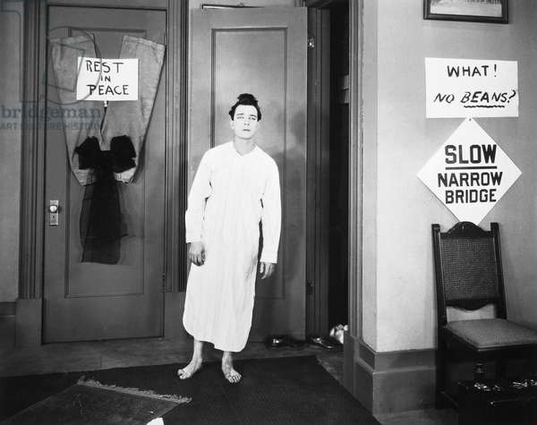 BUSTER KEATON (1895-1966) American film comedian. In a scene from 'College,' 1927.