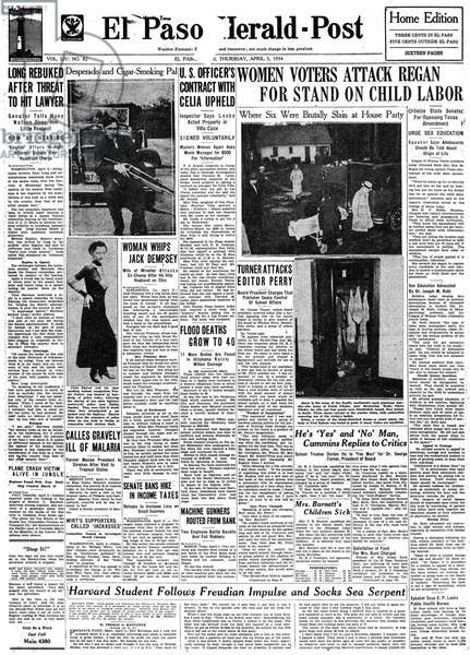 BONNIE AND CLYDE, 1934 Front page of The El Paso Herald-Post, discussing the hunt for Clyde Barrow and Bonnie Parker following the slaying of two police, 4 April 1934.