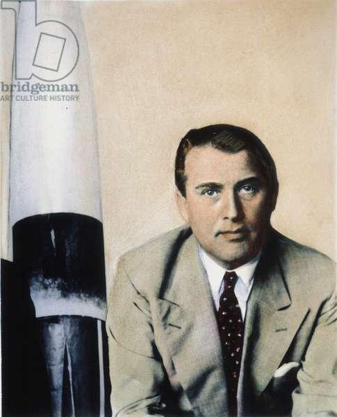 WERNHER von BRAUN (1912-1977). German rocket scientist. Oil over a photograph, n.d.