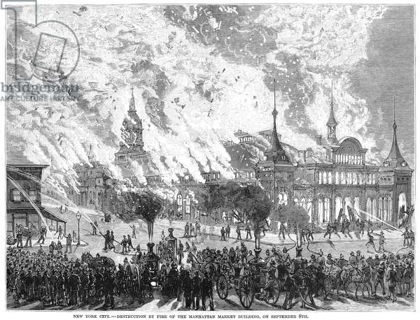 NEW YORK CITY: FIRE, 1880 The burning of the Manhattan Market Building in New York City, 8 September 1880. Wood engraving form a contemporary American newspaper.
