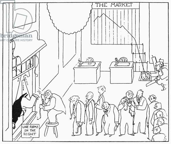 CARTOON: WALL STREET CRASH, 1929. Brokers line up to throw themselves out of the window after the stock market crash of 29 October 1929. Cartoon, 1929.