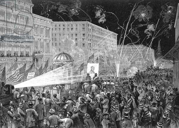 NYC: DEMOCRAT PARADE, 1876 A parade in New York City during the 1876 presidential campaign: wood engraving from a contemporary American newspaper.