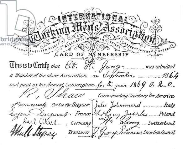 KARL MARX MEMBERSHIP Karl Marx's signature, in his capacity of Corresponding Secretary for Germany, on a membership card of the International Workingmen's Association, 1869.