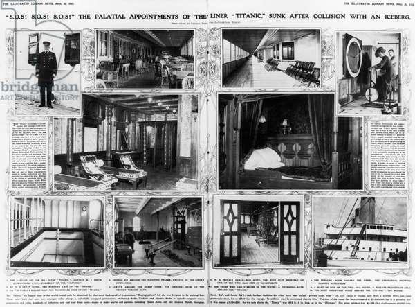 TITANIC: AMENITIES, 1912 The palatial appointments of the ocean liner 'Titanic,' which was sunk after a collision with an iceberg.