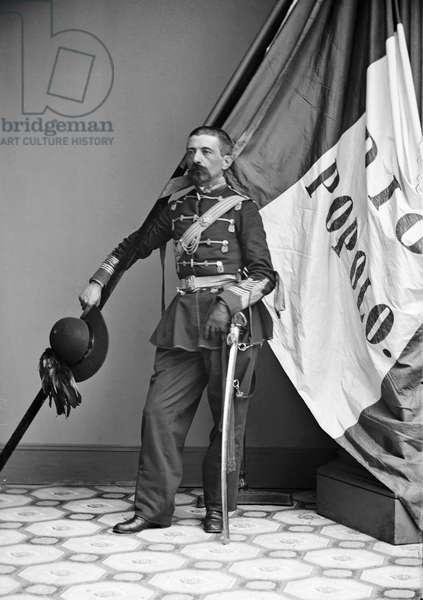 CIVIL WAR: UNION SOLDIER Lieutenant Colonel A. Ripetti, an Italian-American of the 39th New York Infantry, with an Italian flag, during the American Civil War, c.1862.