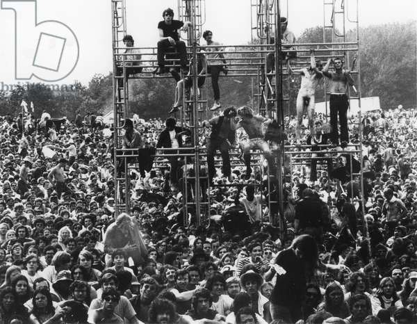 WOODSTOCK, 1969 A huge crowd faces the stage at the famous gathering of hippes at the Woodstock music festival in New York State.