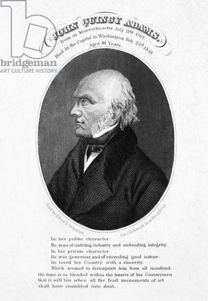 JOHN QUINCY ADAMS (1767-1848). Sixth President of the United States. Steel engraving, 19th century.