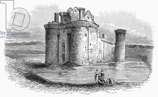 CAERLAVEROCK CASTLE Caerlaverock Castle, in the southwest of Scotland. Wood engraving, English, 19th century, after J.M.W. Turner.