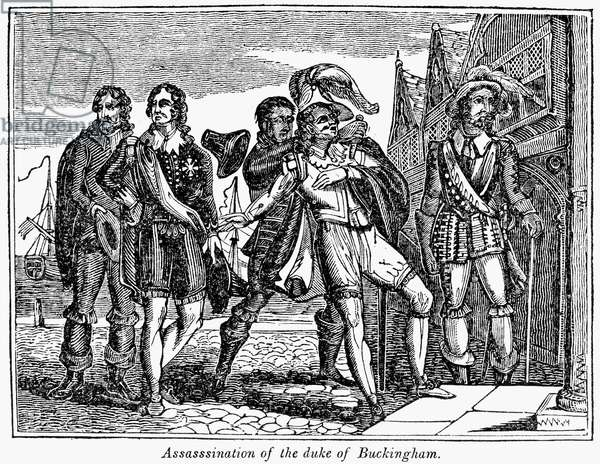 GEORGE VILLIERS (1592-1628) 1st Duke of Buckingham. English courtier and politician. The assassination of Villiers, 23 August 1628, by John Felton, a naval lieutenant who had served in the failed mission to Cadiz organized three years earlier by Villiers. Wood engraving, American, c.1850.