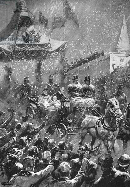 HAAKON VII & QUEEN MAUD greeted by cheering crowds as they ride through heavy snows to the palace at Christiania (Oslo), 25 November 1905: contemporary illustration.
