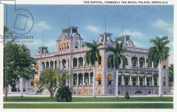 HAWAII: 'IOLANI PALACE 'Iolani Palace in Honolulu, Hawaii. Postcard, American, 1935.