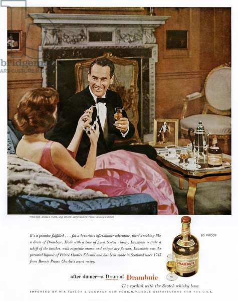 AD: DRAMBUIE WHISKEY, 1961 American advertisement for Drambuie Whiskey, 1961.