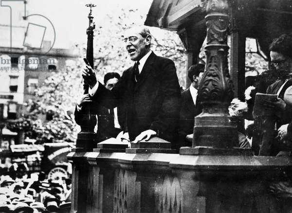 WILSON CAMPAIGNING, 1912 Woodrow Wilson campaigning for the Presidency in Union Square, New York City, 9 September 1912.