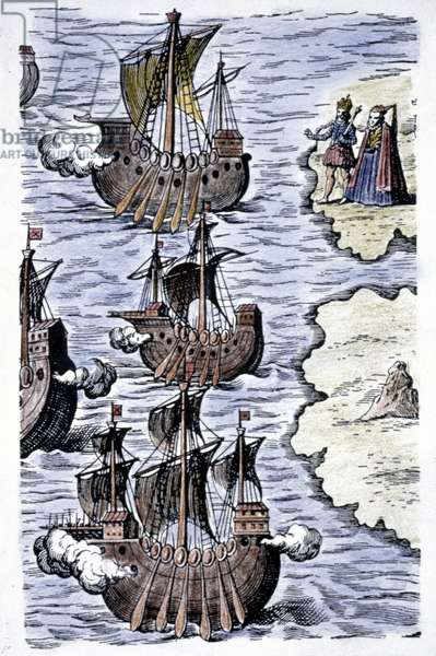 COLUMBUS' SHIPS, 1492 The caravels of Columbus setting sail from Spain on 3 August 1492: coloured  engraving, 1621.