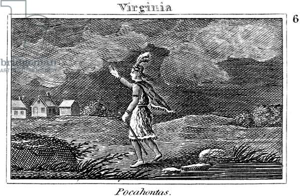 POCAHONTAS (1595-1617) Native American princess. Pocahontas on her way to visit the colonists at Jamestown. Line engraving, American, 1829.