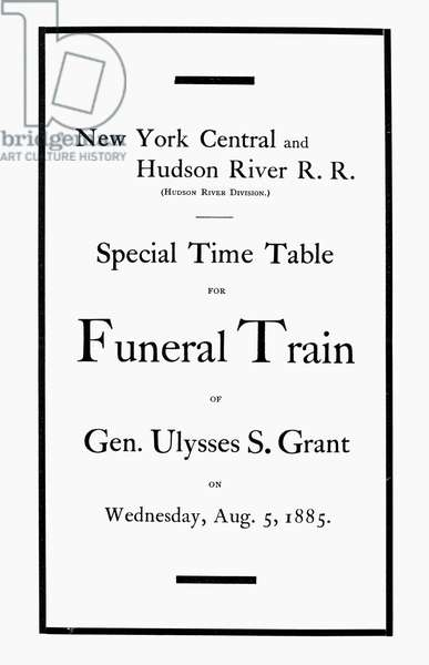 BURIAL OF ULYSSES S. GRANT Cover of the schedule for the funeral train of Ulysses S. Grant, 5 August 1885.