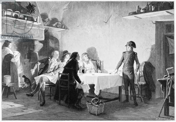 NAPOLEON BONAPARTE  (1769-1821). Emperor of France, 1804-14. 'The Supper of Beaucaire,' 1793. Engraving after a painting by Jean Lecomte du Nouy, 1869.