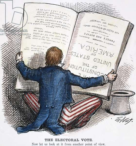 ELECTION CARTOON, 1876 'The Electoral Vote.' Contemporary American cartoon by Thomas Nast showing a perplexed Uncle Sam reading the Constitution upside down in an attempt to resolve the election between Rutherford B. Hayes and Samuel J. Tilden, in which twenty disputed electoral votes were eventually awarded to Hayes.