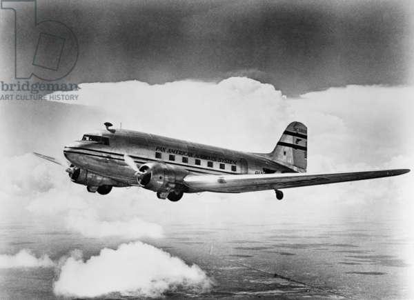 DOUGLAS DC-3 AIRCRAFT A Pan American Airways' Douglas DC-3 aircraft, c.1940.