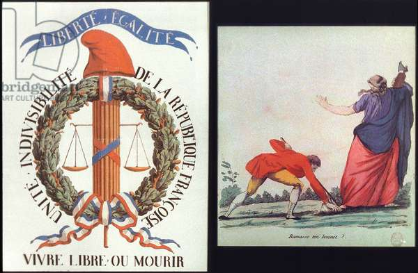 FRENCH REVOLUTION: POSTER Liberte, Egalite: poster, and 'Pick up your cap (of freedom).' Aqua fortis, c.1793.