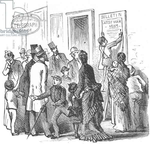 CIVIL WAR TELEGRAPH OFFICE Reading the latest dispatches from the Civil War outside a Western Union telegraph office in a Northern city. Wood engraving, c.1861.